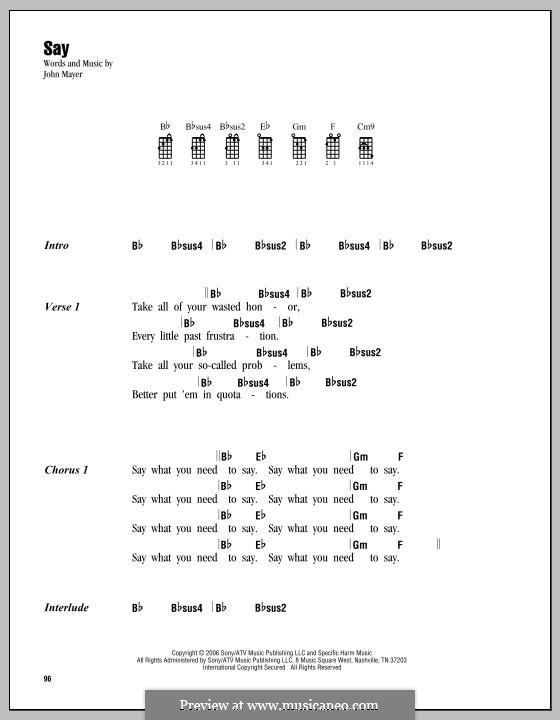 Say: For ukulele by John Mayer