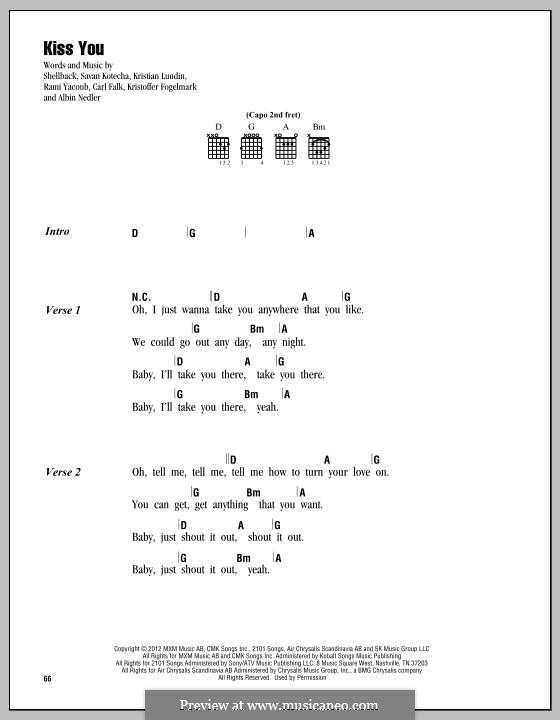 Kiss You (One Direction): Lyrics and chords by Shellback, Carl Falk, Kristian Lundin, Rami Yacoub, Savan Kotecha