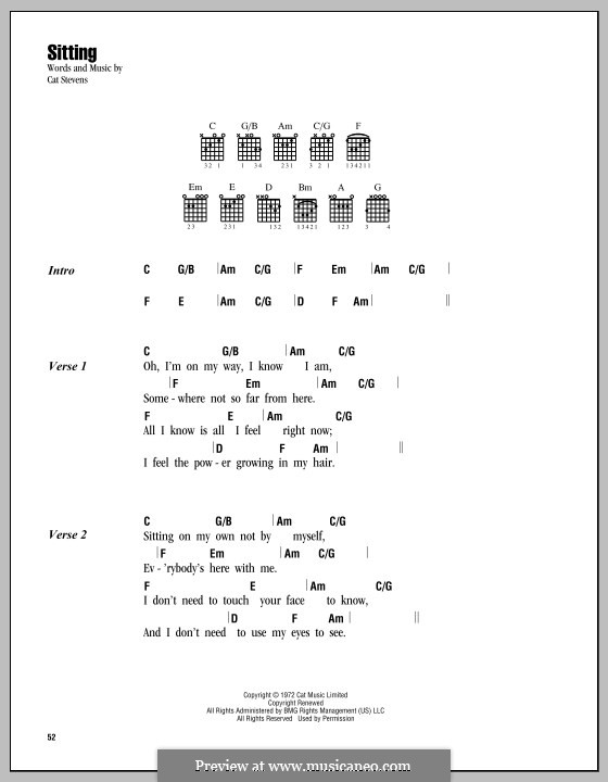Sitting: Lyrics and chords by Cat Stevens