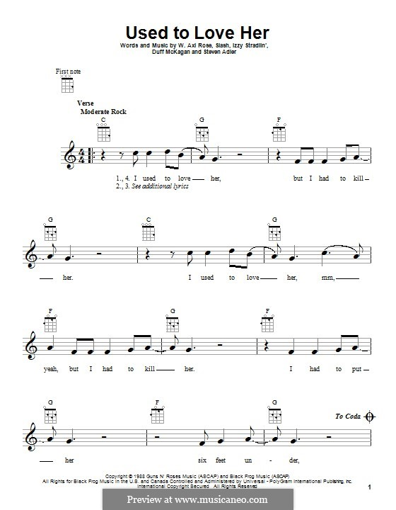 Used to Love Her (Guns N' Roses): For ukulele by Slash, W. Axl Rose, Duff McKagan, Izzy Stradlin, Steven Adler