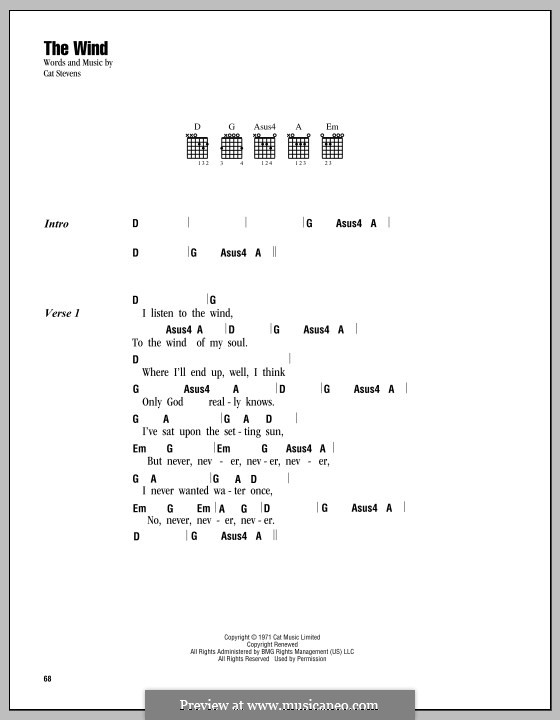 The Wind: Lyrics and chords by Cat Stevens