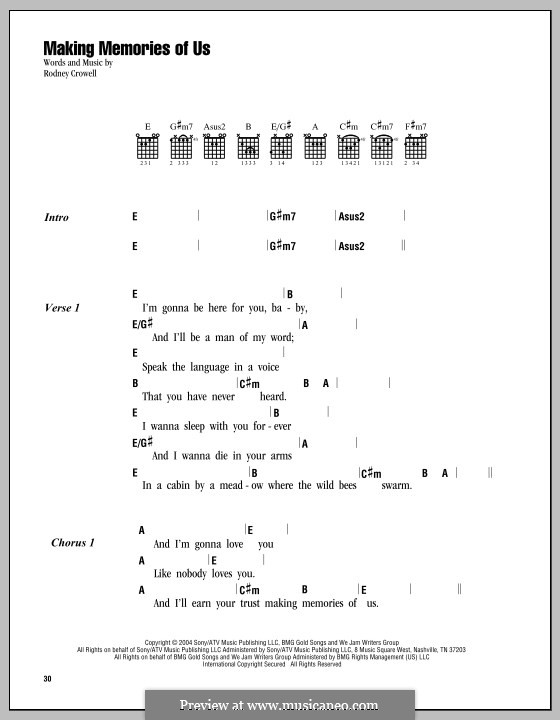 Making Memories Of Us By R Crowell Sheet Music On Musicaneo