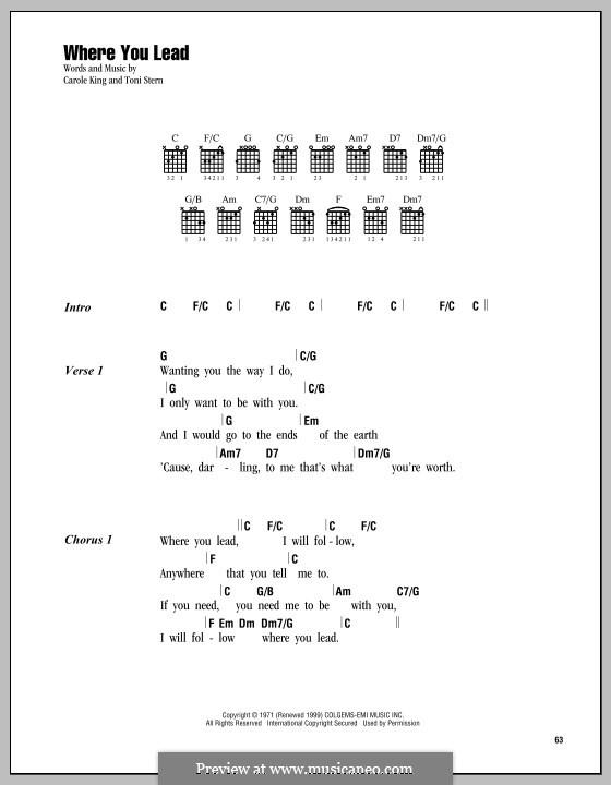 Where You Lead: Lyrics and chords by Carole King, Toni Stern