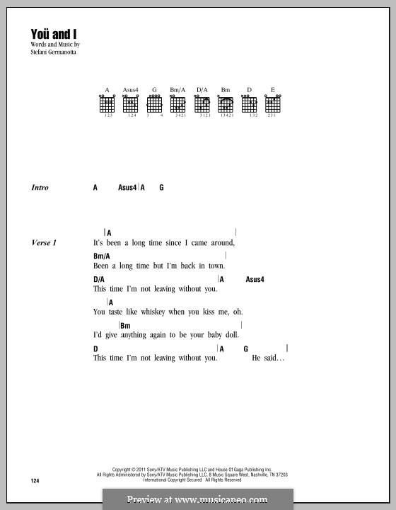 You and I (Lady Gaga) by S. Germanotta - sheet music on MusicaNeo