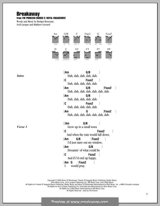 Breakaway (Kelly Clarkson): Lyrics and chords by Avril Lavigne, Bridget Benenate, Matthew Gerrard