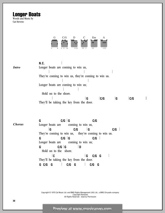 Longer Boats: Lyrics and chords by Cat Stevens