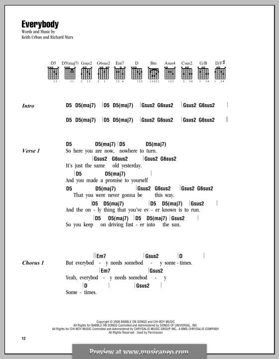 Everybody: Lyrics and chords by Keith Urban, Richard Marx