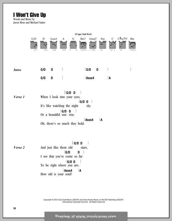 I Won't Give Up: Lyrics and chords by Jason Mraz, Michael Natter