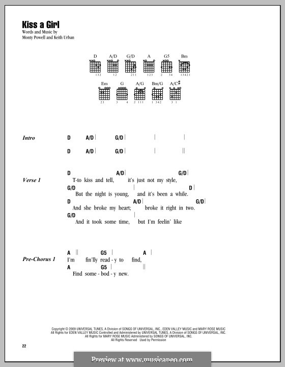 Kiss a Girl (Keith Urban) by M. Powell - sheet music on MusicaNeo