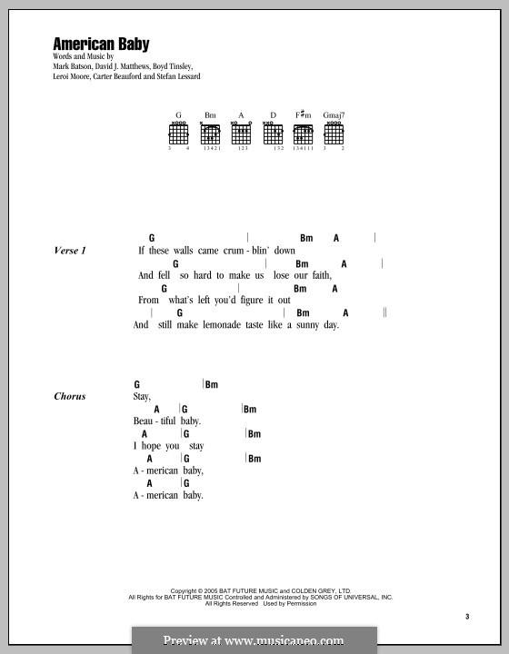 American Baby (Dave Matthews Band): Lyrics and chords by Mark Batson