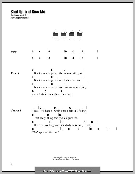 Shut Up and Kiss Me: Lyrics and chords by Mary Chapin Carpenter