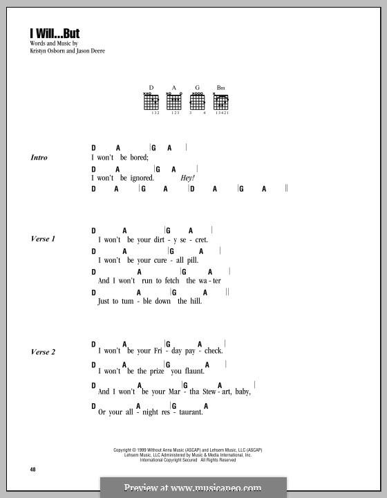 I Will...But (SHeDAISY): Lyrics and chords by Jason Deere, Kristyn Osborn