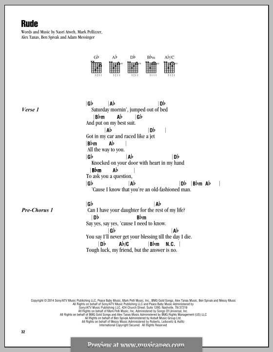 Rude (MAGIC!): Lyrics and chords by Adam Messinger, Nasri Atweh, Mark Pellizzer, Alex Tanas, Ben Spivak