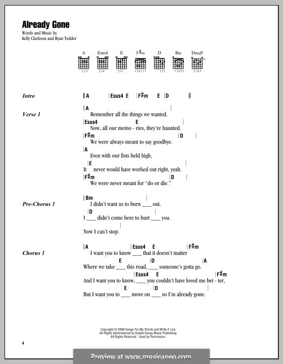 Already Gone Kelly Clarkson By Rb Tedder Sheet Music On Musicaneo