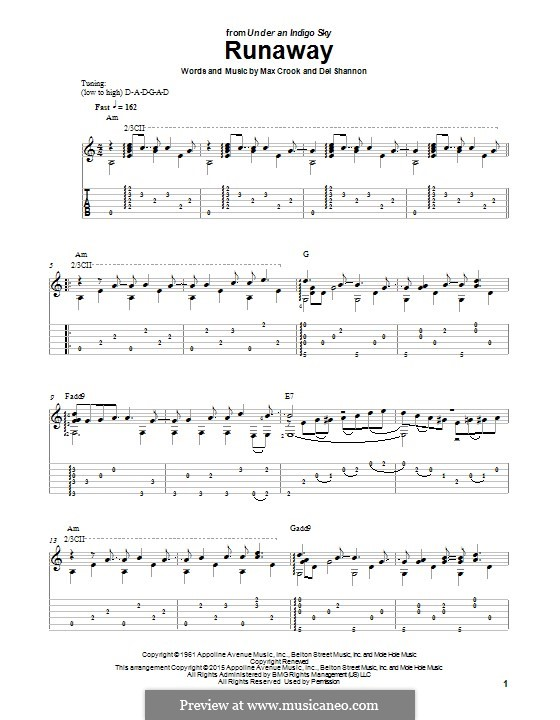 Runaway: For guitar with tab by Del Shannon, Max Crook
