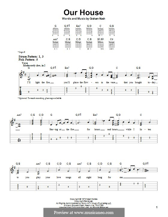 Our House (Crosby, Stills & Nash): For guitar with tab by Graham Nash