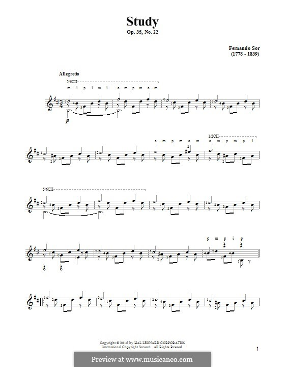 Twenty-Four Exercises for Guitar, Op.35: Etude No.22 by Fernando Sor