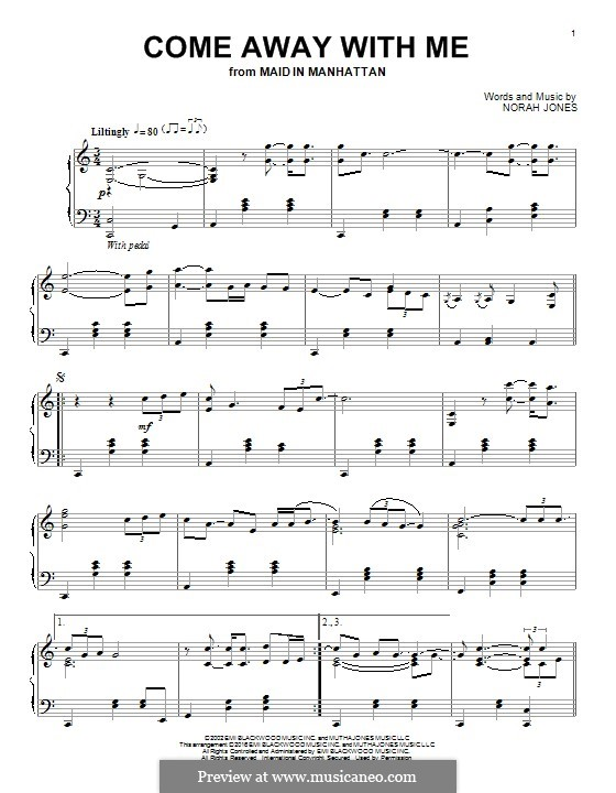 Come Away with Me: For piano by Norah Jones