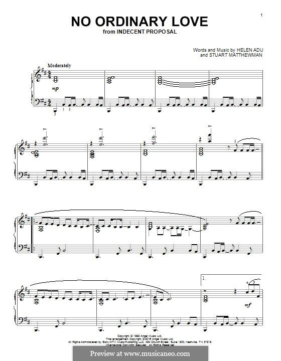 No Ordinary Love Sade By H Adu S Matthewman Sheet Music On