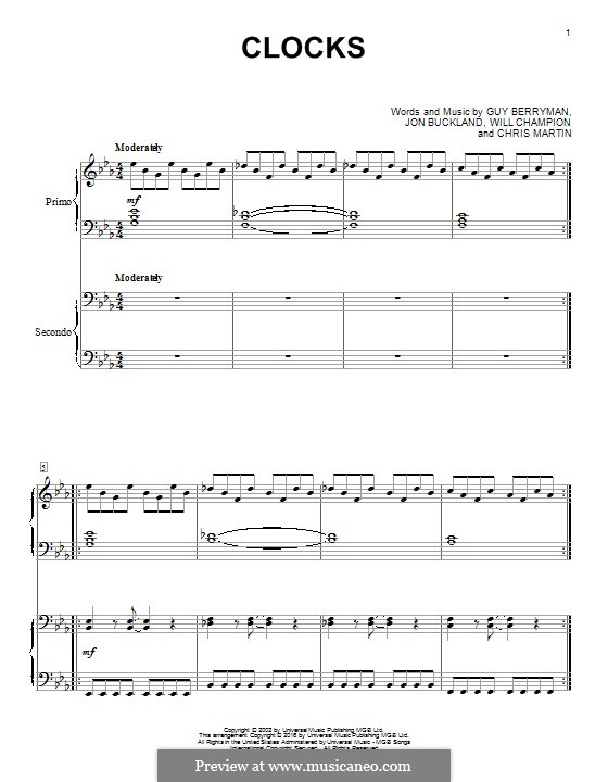 Clocks (Coldplay): For piano four hands by Chris Martin, Guy Berryman, Jonny Buckland, Will Champion