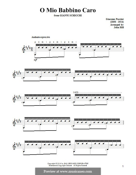 O mio babbino caro: For guitar by Giacomo Puccini