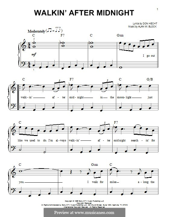 Walkin' After Midnight (Patsy Cline): For piano by Alan W. Block