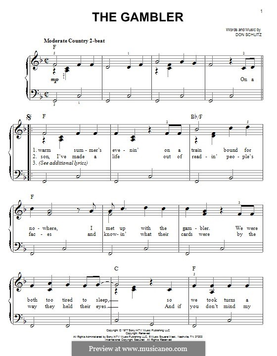 The Gambler (Kenny Rogers): For piano by Don Schlitz