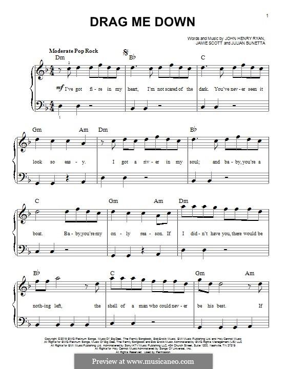 Drag Me Down (One Direction): For piano by Julian Bunetta, Jamie Scott, John Henry Ryan