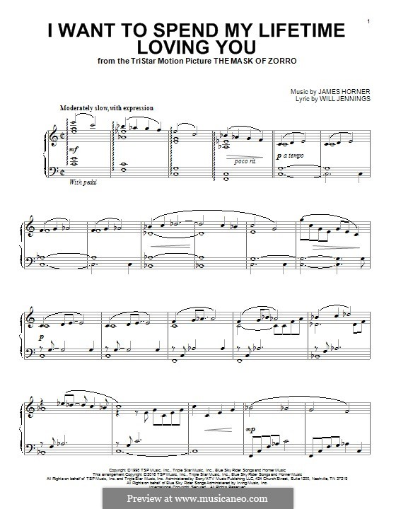 I Want To Spend My Lifetime Loving You (Marc Anthony and Tina Arena): For piano by James Horner