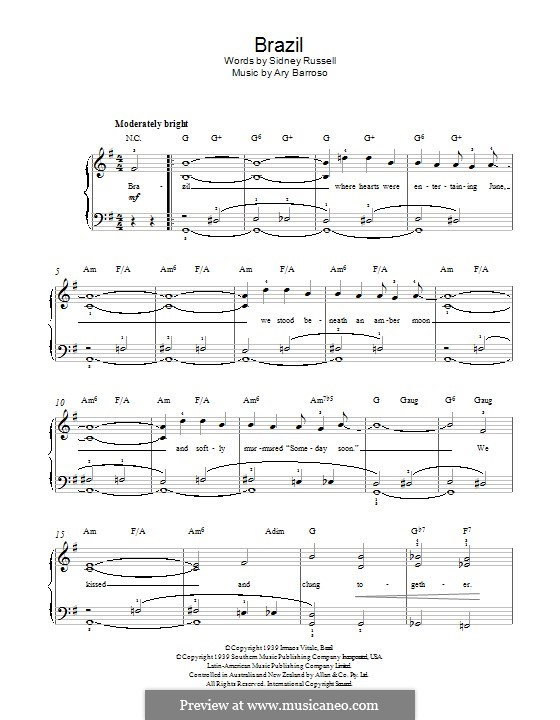 Brazil (The Ritchie Family): For piano by Ary Barroso