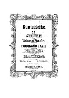 Bunte Reihe, Op.30: No.1-6 for piano by Ferdinand David