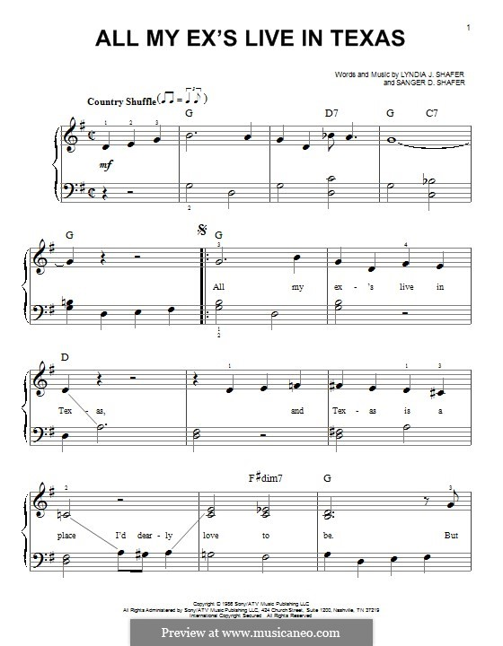 All My Ex's Live in Texas: For piano by Lyndia J. Shafer, Sanger D. Shafer