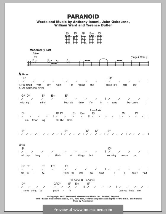 Paranoid (Black Sabbath): For ukulele by Geezer Butler, Ozzy Osbourne, Tony Iommi, Bill Ward