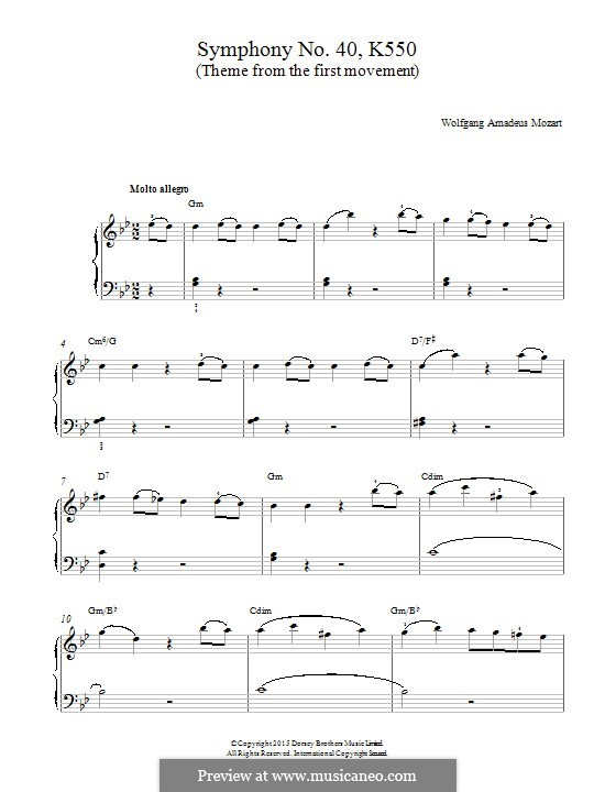 Movement I: Theme, for piano by Wolfgang Amadeus Mozart