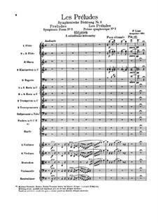 Symphonic Poem No.3 'Les préludes' for Orchestra, S.97: Full score by Franz Liszt