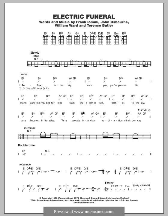 Electric Funeral (Black Sabbath): For ukulele by Geezer Butler, Ozzy Osbourne, Tony Iommi, Bill Ward