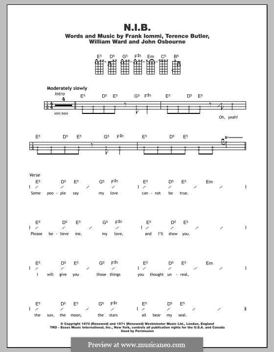 N.I.B. (Black Sabbath): For ukulele by Geezer Butler, Ozzy Osbourne, Tony Iommi, Bill Ward