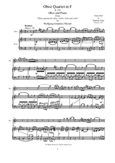Quartet for Oboe and Strings in F Major, K.370: Movement III Rondeau. Version for oboe and piano by Wolfgang Amadeus Mozart