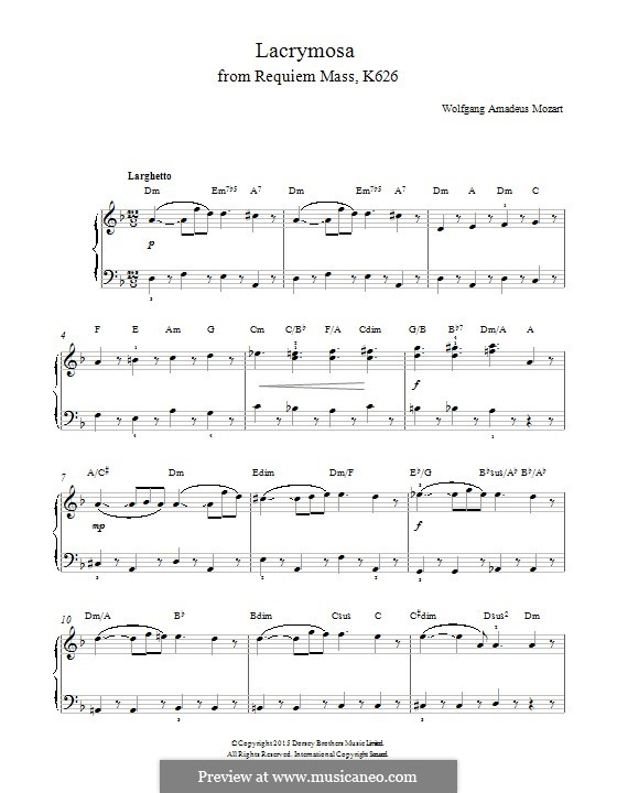 Lacrimosa: For piano by Wolfgang Amadeus Mozart