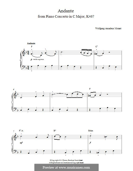 Concerto for Piano and Orchestra No.21 in C Major, K.467: Movement II. Version for piano by Wolfgang Amadeus Mozart