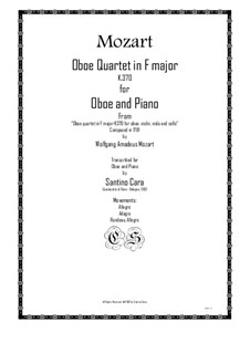 Quartet for Oboe and Strings in F Major, K.370: Movement IV. Version for oboe and piano by Wolfgang Amadeus Mozart