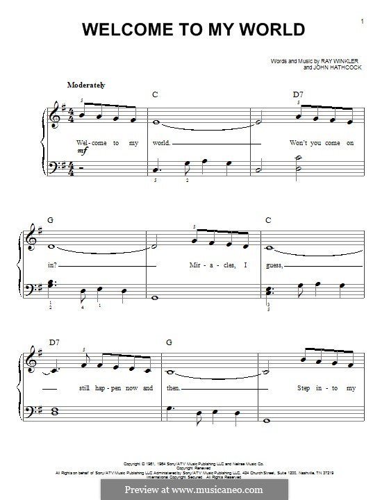 Welcome To My World (Jim Reeves): For piano by Johnny Hathcock, Ray Winkler