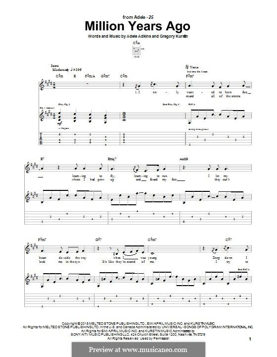 Million Years Ago: For guitar by Adele, Greg Kurstin