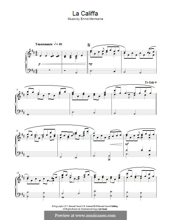 La Califfa: For piano by Ennio Morricone