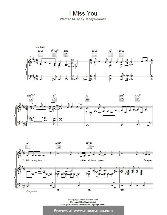 I Miss You: For voice and piano (or guitar) by Randy Newman