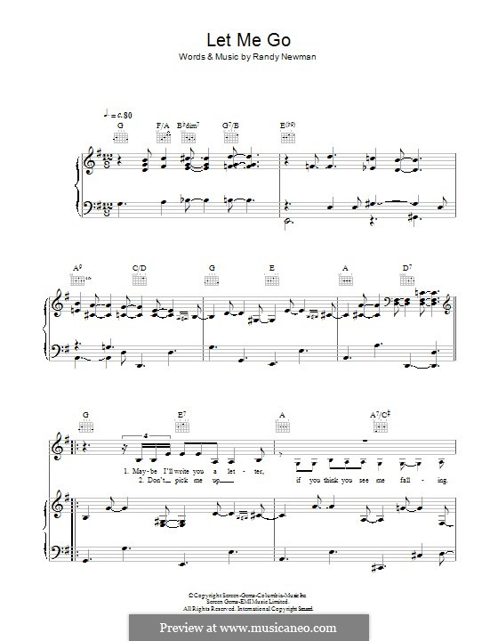 Let Me Go: For voice and piano (or guitar) by Randy Newman