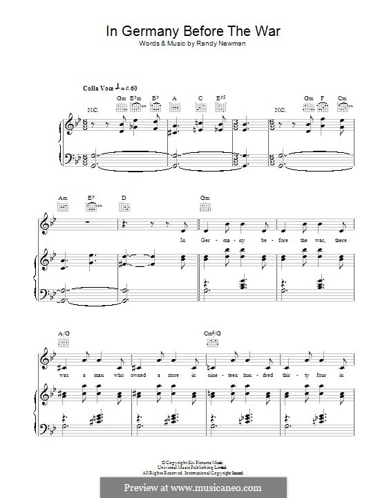In Germany Before the War: For voice and piano (or guitar) by Randy Newman