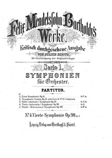 Symphony No.4 in A Major 'Italian', Op.90: Full score by Felix Mendelssohn-Bartholdy