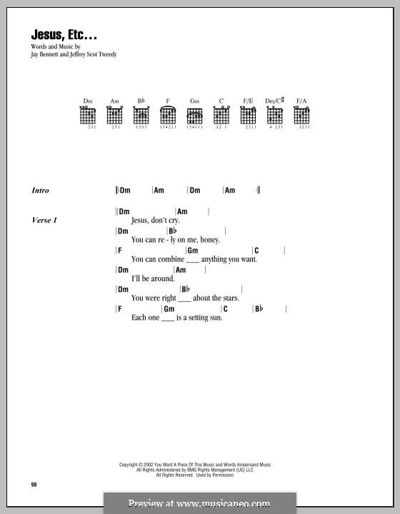 Jesus, Etc... (Wilco): Lyrics and chords by Jay Bennett, Jeff Tweedy