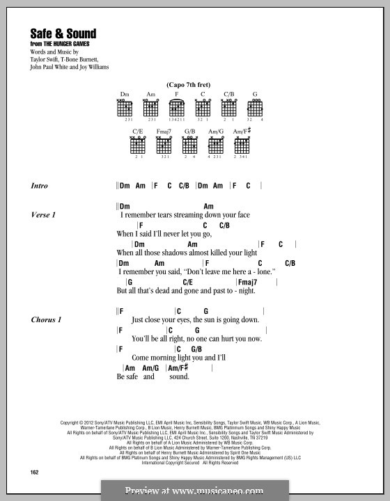 Safe and Sound (Taylor Swift feat. The Civil Wars): Lyrics and chords by John Paul White, Joy Williams, T-Bone Burnett, Taylor Swift
